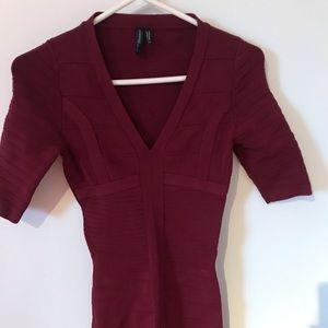Marciano burgundy bandage mini dress